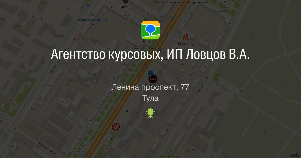 Агентство курсовых ИП Ловцов В А Ленина проспект Тула ГИС